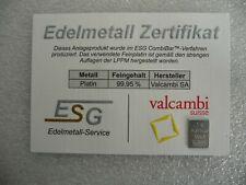 1g PLATINBARREN in KAPSEL mit ZERTIFIKAT Platinum Wertanlage Sammeln Geschenk
