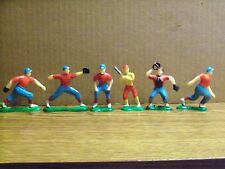 Lot of Six (6), Plastic Baseball Players, Cake Decorations, Made in Hong Kong