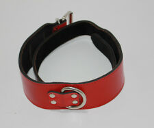 BDSMSale Adjustable Red Leather Collar Hell's Couture
