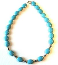 """turquoise/lapis lazuli necklace gold plated beads & clasp  21"""" (gp4)"""