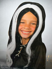 Streaked witch wig - black w/ white child 8+ one size fits most - HALLOWEEN NIP