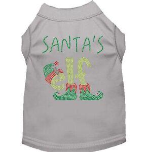 Mirage Pet Products Santa's Elf Rhinestone Dog Shirt Grey XS (8)