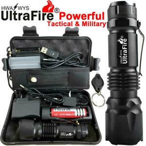 90000LM Zoom Ultrafire Tactical Military T6 LED Flashlight Torch Fish Camp Light