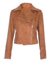 Women Suede LOOK Size Zip Classic Ladies Biker Jacket Coat Black Brown 6-14 12 Tan