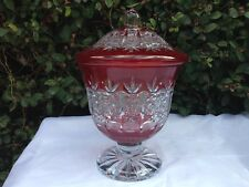 """VINTAGE BOHEMIA RED QUEEN LACE CUT 24% CRYSTAL COVERED VASE 12"""" MINT NIB"""