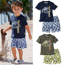 Summer Baby Toddler Kids Boys Dinosaur T Shirts + Shorts Pants Beach Outfits Set