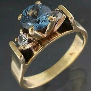 Vintage 1960's Solid 9k Yellow GOLD BLUE SPINEL & 2 White Spinel RING Sz O1/2