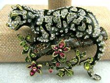HEIDI DAUS Natural Instinct Ocelot Leopard Pin BROOCH RV $189.95 NEW BRILLIANT