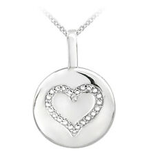 Sterling Silver Diamond Accent MOM or Heart Circle Necklace