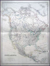 NORTH AMERICA GENUINE JOHNSTON ANTIQUE MAP 1865