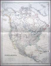 NORTH AMERICA GENUINE JOHNSTON ANTIQUE MAP 1865