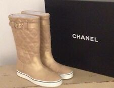 NIB Chanel $950 Gold Classic CC Logo Quilted Leather Flat Boots 35 / 35.5 / 36