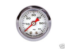 Liquid Filled Oil Pressure Gauge 0-60 psi - WHITE face -Harley Davidson