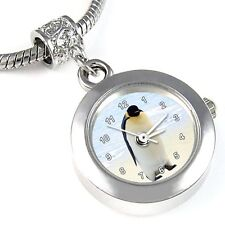 Emperor Penguin Silver Quartz Watch European Bracelet Spacer Charm Bead EBA130