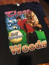 Vintage Tiger Woods T Shirt Sz: XL Bootleg Rap Tee Double Sided Bay Club Rare