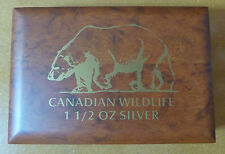Canadian Wildlife Wooden Coin Box for 6 X 1.5 oz Silver Coins