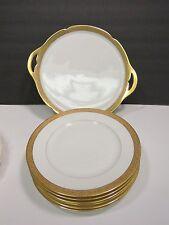 """6 Martin Limoges France Depose Gold Rimmed 7.5"""" Dessert Plates & Cake Plate"""