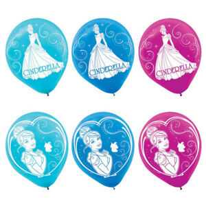 CINDERELLA Pack of 6 Party Balloons Kids Birthday Decorations Princess Girls