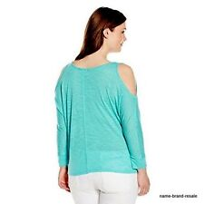 662573112e1c81 Democracy Cold Shoulder Aqua Shirt Womens Plus 1x 14 16 Tie Front