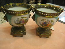 Stunning Pair of Porcelain Vases on Bronze Stand