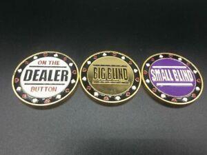 Metal Dealer Button Small Blind Big Blind Poker buttons Texas hold'em buttons