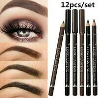 12Pcs/Set Waterproof Eye Brow Pencil Brown Black Eyebrow Pen Lasting Makeup Gift