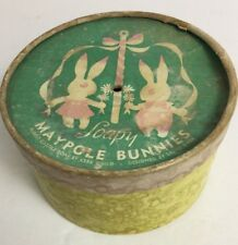 "Vintage Rabbits Castile soap Maypole cardboard round container 5"" x 3"" flowers"