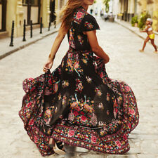 Women Retro Boho Long Maxi Party Beach Dress Floral Bridesmaid Formal Long Dress