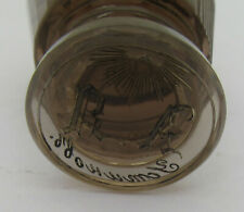 More details for antique smoky brown glass masonic seal engraved pyramid, eye, sun, 'yom u hobs'?