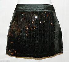 H & M Mini Skirt Sequin Lined Black size 6 Sequined Satin Waist