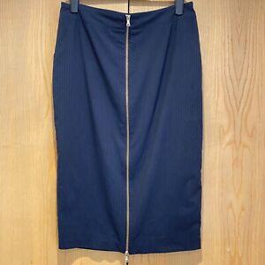 Women's River Island Black Zipped Front Pencil Midi Skirt Size 14 Pinstriped