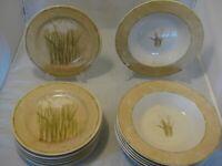 222 Fifth Cheri Blum Narcissus Pattern (6) Soup Bowls & (7) Salad Plates in VGC