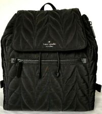 New Kate Spade New York Ellie Large Flap Nylon Backpack handbag Black