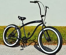 Fat Tire Beach Cruiser Bike 🌴 Flat Black w Whitewall - 7 SPEED-CUTOUT RIMS