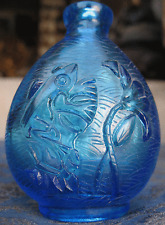 Antique Very Old Chinese Beautiful Blue Glass Snuff Bottle, Nepal