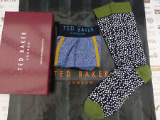 TED BAKER Boxer Short + Sock Gift Set Box 2in1 UK M-L Spot Trunk & Socks Set New