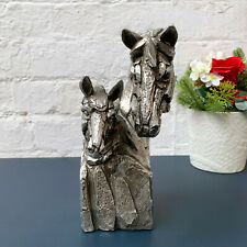 Silver Natural World Resin Horse Pair Bust Animal Statue Sculpture Ornament Gift
