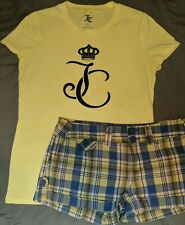 Women's Juicy Couture 2 Pc Outfit T-shirt NWOT Small Yellow Shorts Plaid Size 5