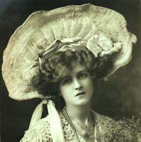 Miss Gabrielle Ray RPPC postcard antique actress portrait lace hat beads