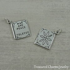 925 Sterling Silver War and Peace Book Charm - American Novel Pendant NEW