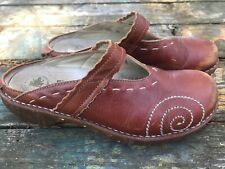 El Natura Lista Womens 7 7.5 38 N096 Clog Shoes Brown Leather Mary Jane