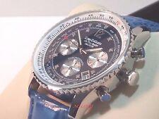 Orologio Cronografo da Uomo con 8 Diamanti Krug Baumen Quadrante Cinturino Blue