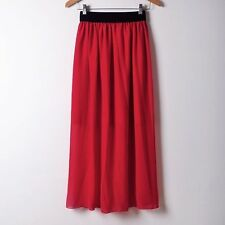 Women Double Layer Skirts Chiffon Long Maxi Dress Elastic Waist Skirt 117