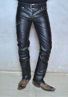 Black leather jeans pant 501 style classic boot cut rodeo cowboy custom made GTC