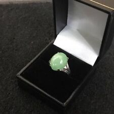 18ct 18k White Gold Oval Cabochon Jade Jadeite Ring