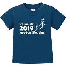 """Baby T-Shirt kurzarm bedruckt """"Ich werde 2019 großer Bruder"""" 100% BIO Baumwolle"""