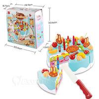 Blue Kids Birthday Candle Strawberry Cake Kitchen Set DIY Pretend Play Toys Gift