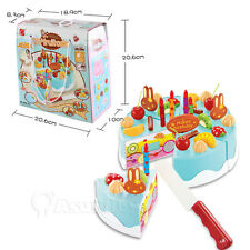 Blue Kids Birthday Candle Strawberry Cake Kitchen Set DIY Pretend Play Toys Gift