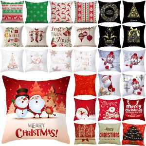Christmas Cushion Cover Xmas Waist Throw Pillow Case Gifts Sofa Car Home Decor