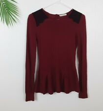 Hinge Red Peplum Lace Sweater Top Angora Size S Button Back